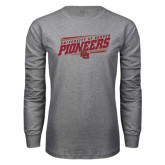 Grey Long Sleeve T Shirt-University of Denver Pioneers Slanted w/ Logo