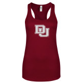 Next Level Ladies Cardinal Ideal Racerback Tank-Primary Mark White Soft Glitter