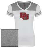 Ladies White/Heathered Grey Juniors Varsity V Neck Tee-DU