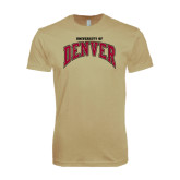Next Level SoftStyle Khaki T Shirt-Arched University of Denver