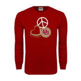 Cardinal Long Sleeve T Shirt-Peace, Love, and Volleyball