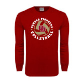 Cardinal Long Sleeve T Shirt-Volleyball Stars Design