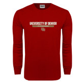 Cardinal Long Sleeve T Shirt-University of Denver Pioneers Bar Stacked