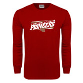 Cardinal Long Sleeve T Shirt-University of Denver Pioneers Slanted w/ Logo