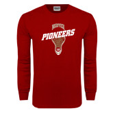 Cardinal Long Sleeve T Shirt-Pioneers Slanted Lacrosse Head