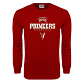 Cardinal Long Sleeve T Shirt-Pioneers Lacrosse Geometric Stick Head