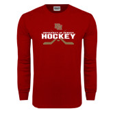 Cardinal Long Sleeve T Shirt-University of Denver Hockey Crossed Sticks