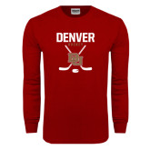Cardinal Long Sleeve T Shirt-Denver Hockey Tall Crossed Sticks