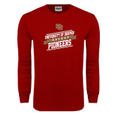 Cardinal Long Sleeve T Shirt-Pioneers Hockey Slanted Banner Text