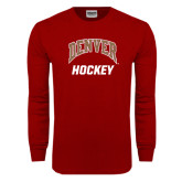 Cardinal Long Sleeve T Shirt-Arched Denver Hockey