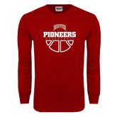 Cardinal Long Sleeve T Shirt-Pioneers Basketball Half Ball