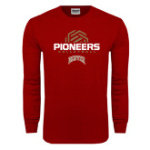 Cardinal Long Sleeve T Shirt-Pioneers Volleyball Geometric Half Ball