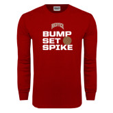 Cardinal Long Sleeve T Shirt-Bump Set Spike Volleyball