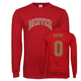 Cardinal Long Sleeve T Shirt-Arched Denver, Custom Tee w/ Name and #