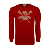 Cardinal Long Sleeve T Shirt-DU Crossed Lacrosse Sticks