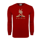 Cardinal Long Sleeve T Shirt-DU Hockey w/Crossed Sticks