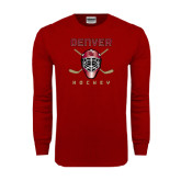 Cardinal Long Sleeve T Shirt-Denver Hockey w/Mask