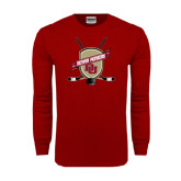 Cardinal Long Sleeve T Shirt-Denver Pioneers Hockey Emblem w/Sticks