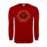 Cardinal Long Sleeve T Shirt-Arched University of Denver Pioneers Hockey w/Sticks