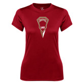 Ladies Syntrel Performance Cardinal Tee-Denver LAX Geometric Stick
