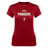 Ladies Syntrel Performance Cardinal Tee-Pioneers Lacrosse Geometric Stick Head