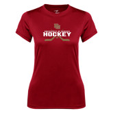Ladies Syntrel Performance Cardinal Tee-University of Denver Hockey Crossed Sticks