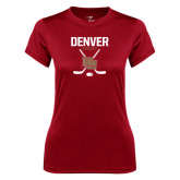 Ladies Syntrel Performance Cardinal Tee-Denver Hockey Tall Crossed Sticks
