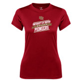Ladies Syntrel Performance Cardinal Tee-Pioneers Hockey Slanted Banner Text