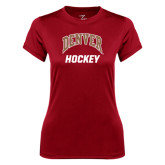 Ladies Syntrel Performance Cardinal Tee-Arched Denver Hockey