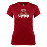 Ladies Syntrel Performance Cardinal Tee-Pioneers Soccer Half Ball