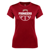 Ladies Syntrel Performance Cardinal Tee-Pioneers Basketball Half Ball