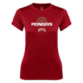 Ladies Syntrel Performance Cardinal Tee-Pioneers Volleyball Geometric Half Ball