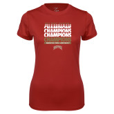 Ladies Syntrel Performance Cardinal Tee-2017 NCAA Division I Mens Hockey Champions