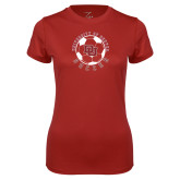 Ladies Syntrel Performance Cardinal Tee-DU Soccer