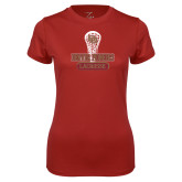 Ladies Syntrel Performance Cardinal Tee-DU Lacrosse