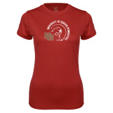 Ladies Syntrel Performance Cardinal Tee-DU Gymnastics