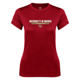 Ladies Syntrel Performance Cardinal Tee-University of Denver Pioneers Bar Stacked