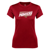 Ladies Syntrel Performance Cardinal Tee-University of Denver Pioneers Slanted w/ Logo