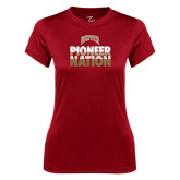 Ladies Syntrel Performance Cardinal Tee-Pioneer Nation