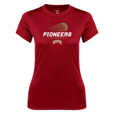 Ladies Syntrel Performance Cardinal Tee-Pioneers Lacrosse Modern