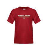 Youth Cardinal T Shirt-University of Denver Pioneers Bar Stacked