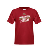 Youth Cardinal T Shirt-Pioneers Hockey Slanted Banner Text