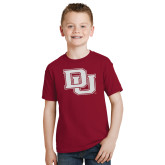 Youth Cardinal T Shirt-Primary Mark White Soft Glitter