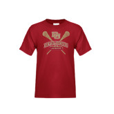Youth Cardinal T Shirt-DU Crossed Lacrosse Sticks