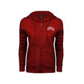 ENZA Ladies Cardinal Fleece Full Zip Hoodie-Arched University of Denver