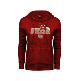 ENZA Ladies Cardinal Fleece Full Zip Hoodie-Soccer Swoosh