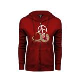 ENZA Ladies Cardinal Fleece Full Zip Hoodie-Peace, Love, and Volleyball