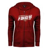 ENZA Ladies Cardinal Fleece Full Zip Hoodie-University of Denver Pioneers Slanted w/ Logo