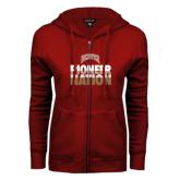 ENZA Ladies Cardinal Fleece Full Zip Hoodie-Pioneer Nation