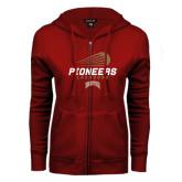 ENZA Ladies Cardinal Fleece Full Zip Hoodie-Pioneers Lacrosse Modern